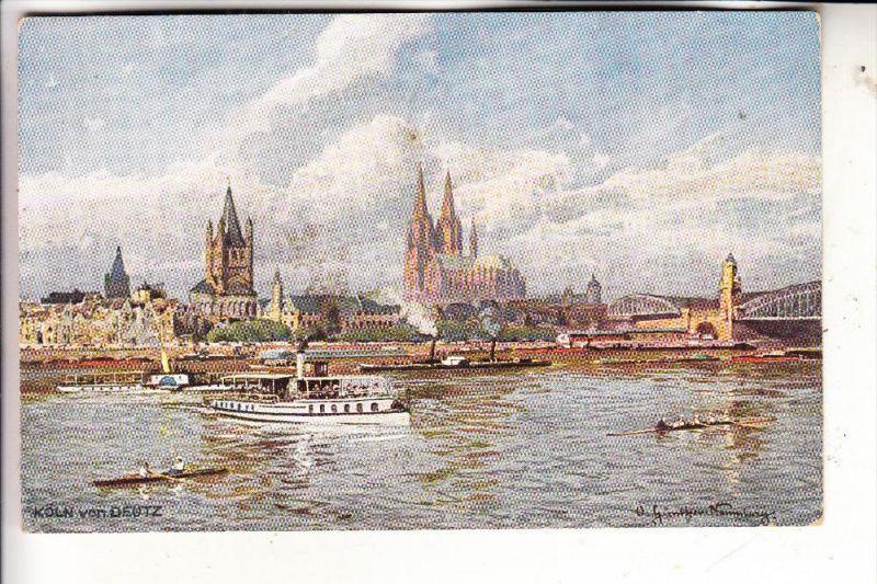 5000 KÖLN, Künstler-Karte Günther Naumburg, Binnenschiffe, Rudern / rowing