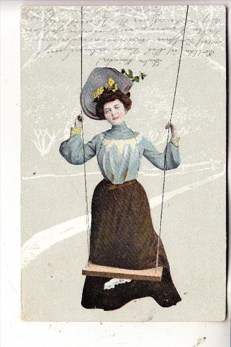 MODE - Frau auf Schaukel, modischer Hut, 1905 Siebenlehn