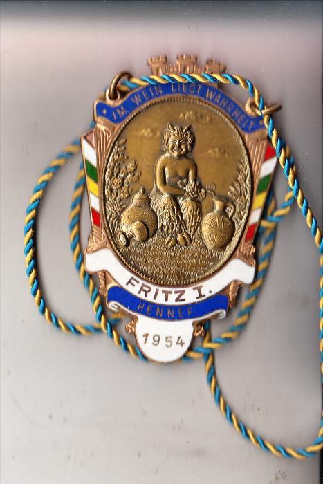 5202 HENNEF, KARNEVALS-Orden, Fritz I, 1954