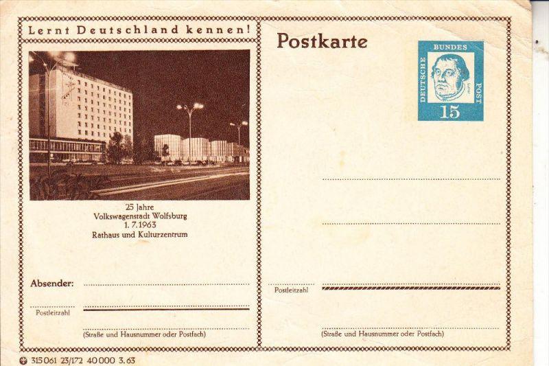 3180 WOLFSBURG, 25 Jahre Volkswagenwerk, Ganzsache, nicht mehr ganz taufrisch