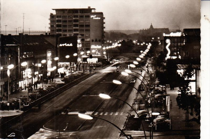3180 WOLFSBURG, Porschestrasse bei Nacht, 1962
