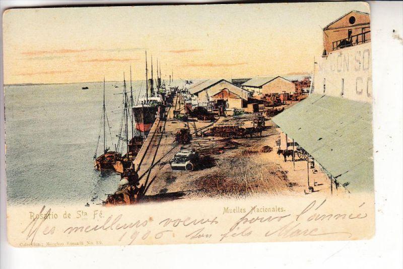 ARGENTINA / ARGENTINIEN, ROSARIO de Santa Fe, Muelles Nacionales, 1906, Vassalli # 39