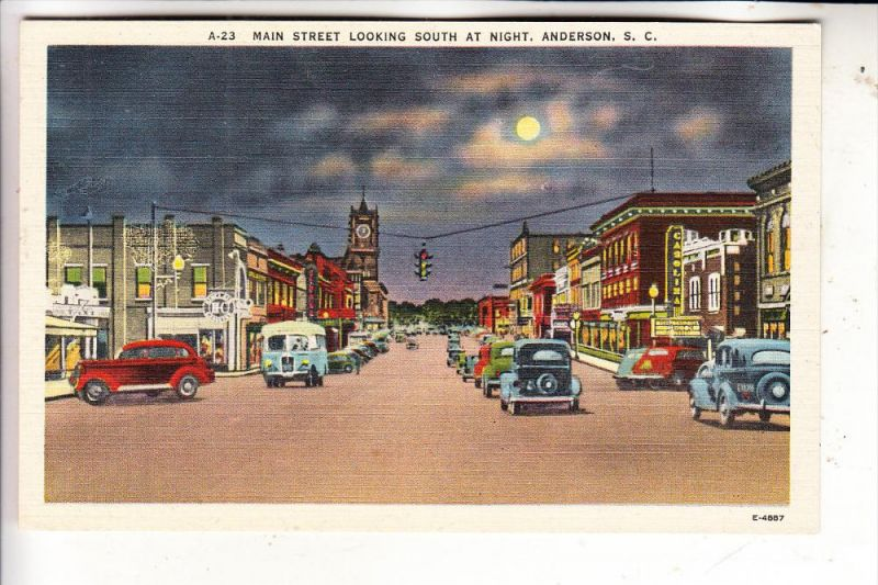 USA / SOUTH CAROLINA / ANDERSON, Main Street at Night