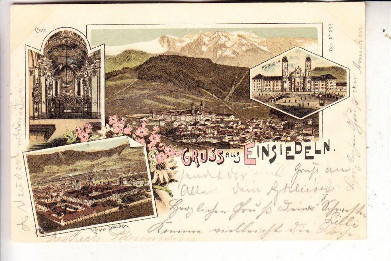 CH 8840 EINSIEDELN, Kloster, Lithographie 4-teilig, 1897, Ambulant / Bahnpost / TPO nach Cöln-Deutz