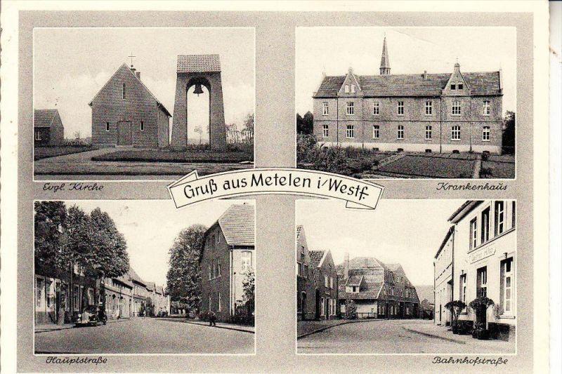 4439 METELEN, Bahnhofstrasse, Hauptstrasse, ev.Kirche, Krankenhaus, 1959, kl. Druckstelle