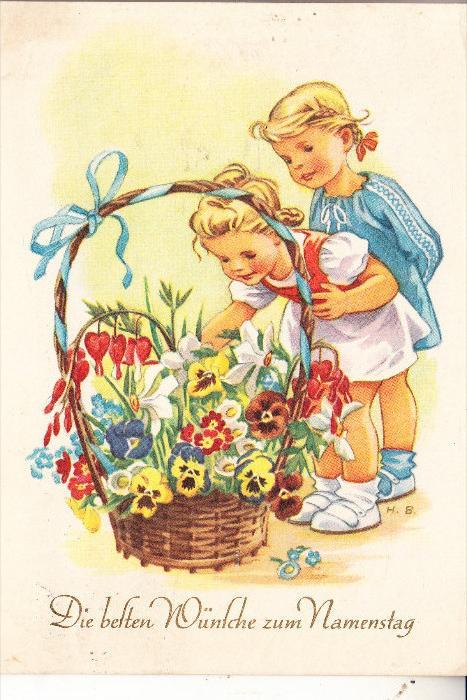KINDER / Children / Enfants / Bambini / Ninos / Kinderen - Künstler-Karte H.B., Mädchen mit Blumenkorb