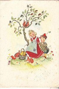 KINDER / Children / Enfants / Bambini / Ninos / Kinderen - Künstler-Karte, Kinder mit Eichhörnchen