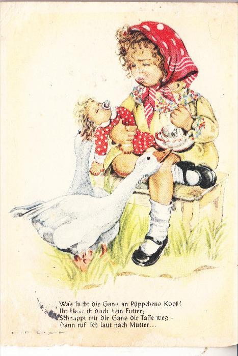 KINDER / Children / Enfants / Bambini / Ninos / Kinderen - Künstler-Karte Hilla Peuk, Mädchen mit Puppe und Gans
