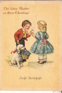 KINDER / Children / Enfants / Bambini / Ninos / Kinderen - Künstler-Karte , Kinder mit Pudel