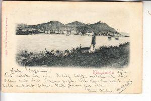 5330 KÖNIGSWINTER, Blick auf Königswinter, Relief-Karte geprägt, Binnenschiffe, 1901
