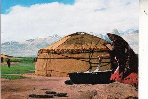 AFGHANISTAN - Pamir, Kirgis Woman making Curd