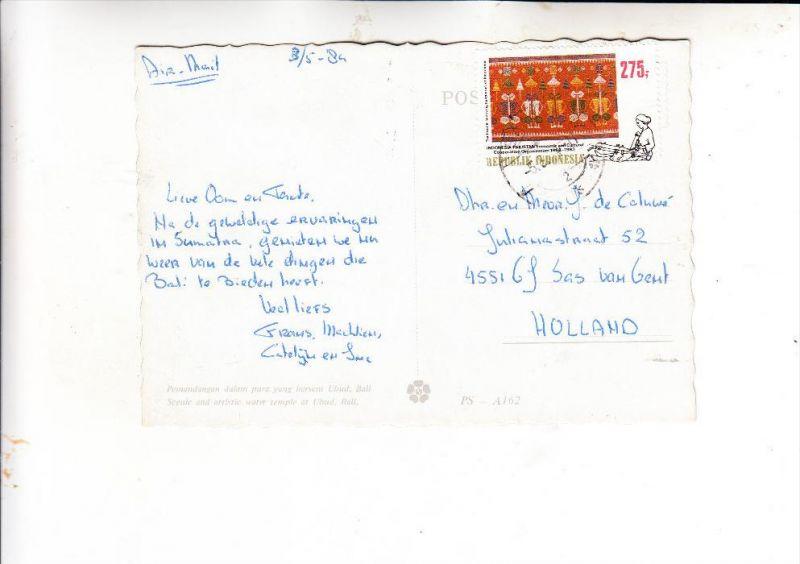 INDONESIA / INDONESIEN, 1983, Michel 1109, AK-Einzelfrankatur in die Niederlande