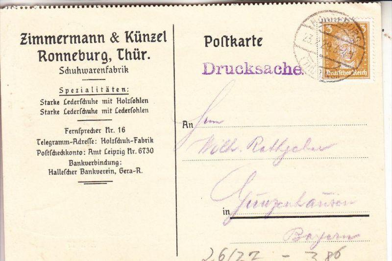 0-6516 RONNEBURG, Werbe-Karte Fa. Zimmerman & Künzel, 1929 - Schuhfabrikation / Shoes / Chaussures / Schoenen