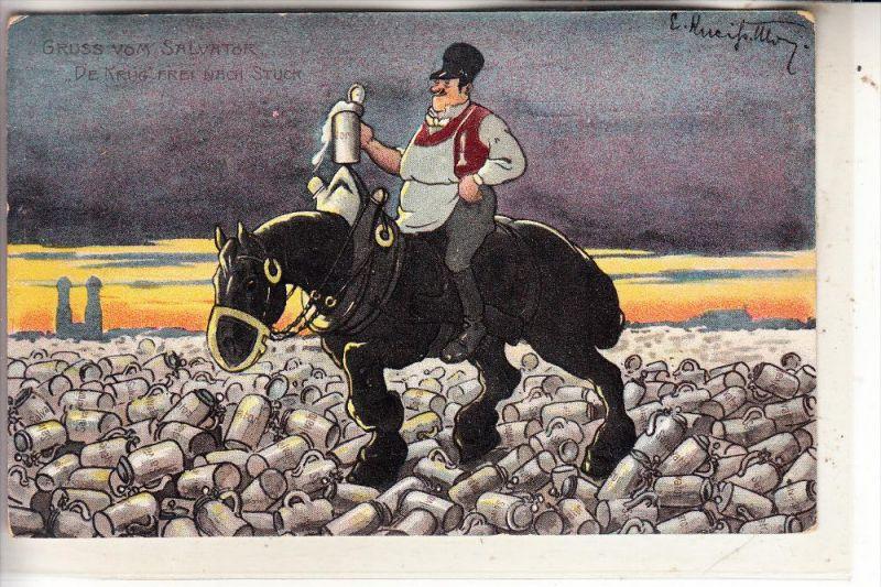 8000 MÜNCHEN, Gruß vom Salvator, Bier, Künstler-Karte