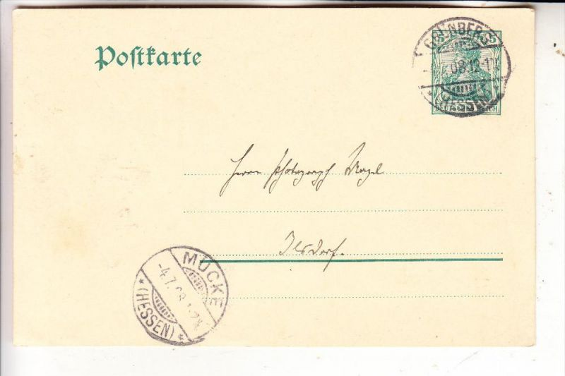 6315  MÜCKE, Postgeschichte, Ankunftsstempel 1908 auf GA von Grünberg