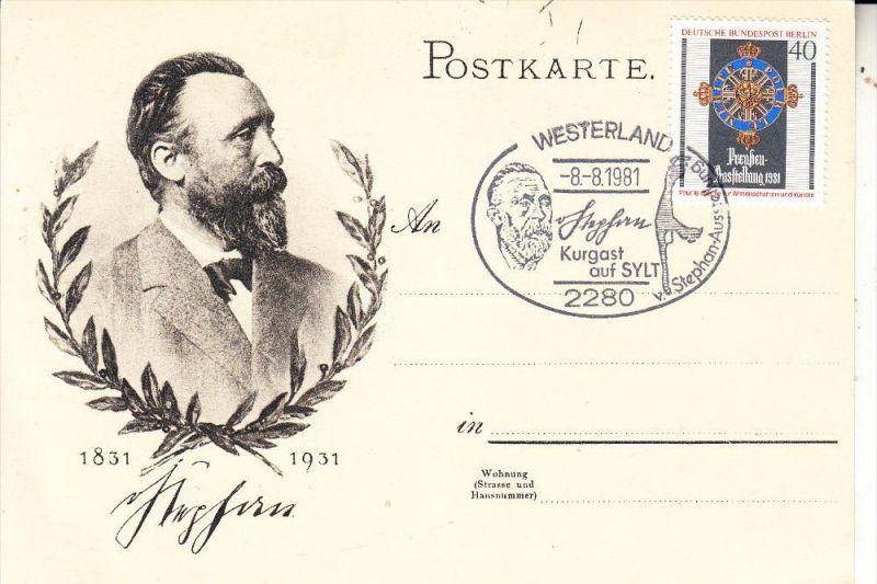 2280 SYLT, Sonderstempel, Heinrich von Stephan Kurgast auf Sylt