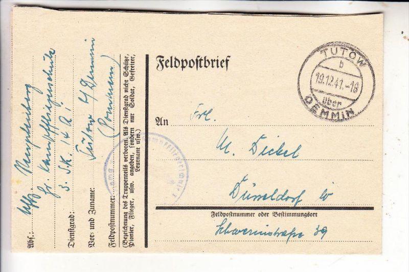 0-2034 TUTOW, Postgeschichte, sauberer Tagesstempel Tutow über Demmin 1941, Feldpostbrief