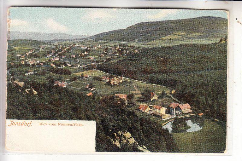 0-8805 JONSDORF, Blick vom Nonnenfelsen, ca. 1905, ungeteilte Rückseite