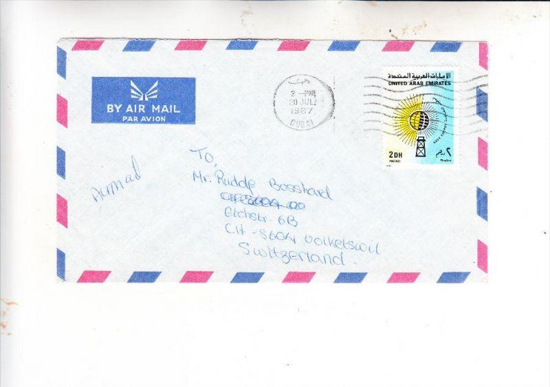 UNITED ARAB EMIRATES, 1987, Michel 224 Save Energy 2 Dh., Einzelfrankatur aus Dubai in die Schweiz / Switzerland