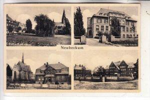 4720 BECKUM - NEUBECKUM, ev. Kirche, kath. Kirche, Landwirtschafts-Schule, Volksschule, 1943