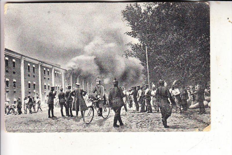 WEISSRUSSLAND - BREST-LITOWSK, Die brennende Zitadelle, 1916, deutsche Feldpost