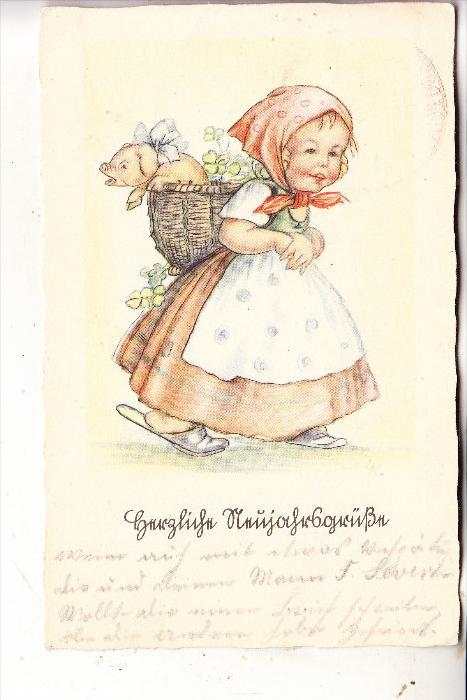 KINDER / Children / Enfants / Bambini / Ninos / Kinderen - Künstler-Karte , Mädchen mit Schweinchen im Korb, 193..