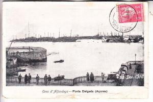 P 95040 PONTA DELGADA / Acores, Caes d'Alfandega, 28.dec. 1918, kl. Einriss