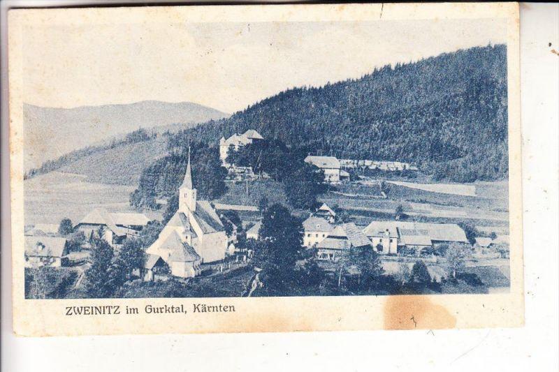 A 9344 WEITENSFELD - ZWEINITZ, Dorfansicht, 1925, Fleck
