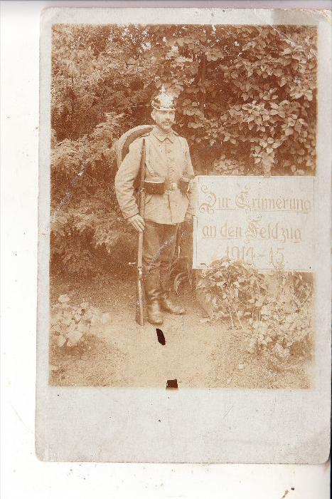 MILITÄR - 1.Weltkrieg, Uniform deutscher Soldat, Pickelhaube, Photo-AK