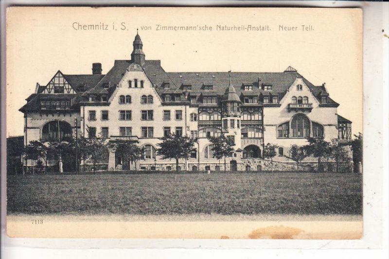 0-9000 CHEMNITZ, von Zimmermann'sche Naturheil-Anstalt, Neuer Teil, kl. Fleck