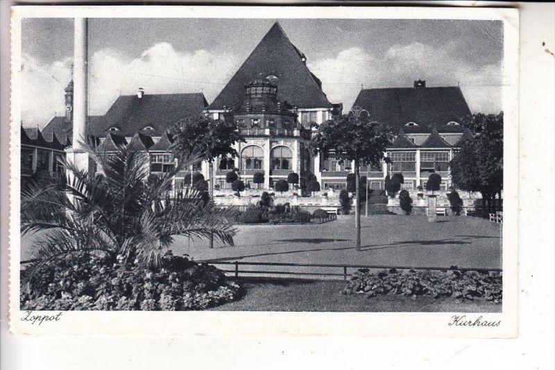 DANZIG / GDANSK - ZOPPOT, Kurhaus, 1942, rück. Kleberest