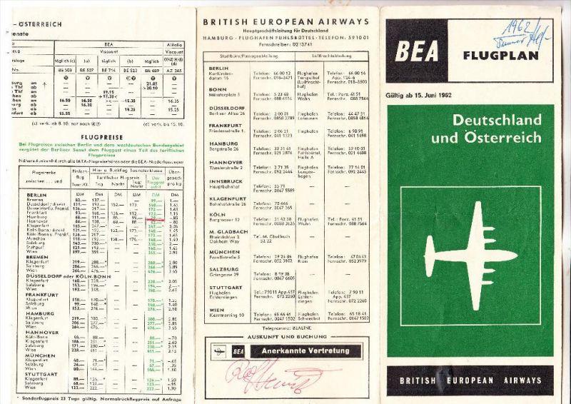 FLUGZEUGE / Airplanes / Avion - BEA British Airways, Flugplan / Timetable Deutschland / Österreich 1962, 8 seitig