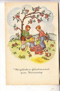 KINDER / Children / Enfants / Bambini / Ninos / Kinderen - Künstler-Karte Hertha Wiesner, Kinder unter einem Baum