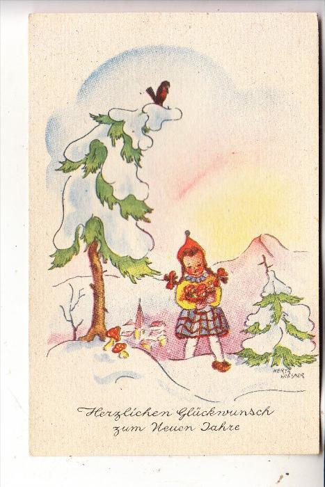 KINDER / Children / Enfants / Bambini / Ninos / Kinderen - Künstler-Karte Hertha Wiesner, Mädchen