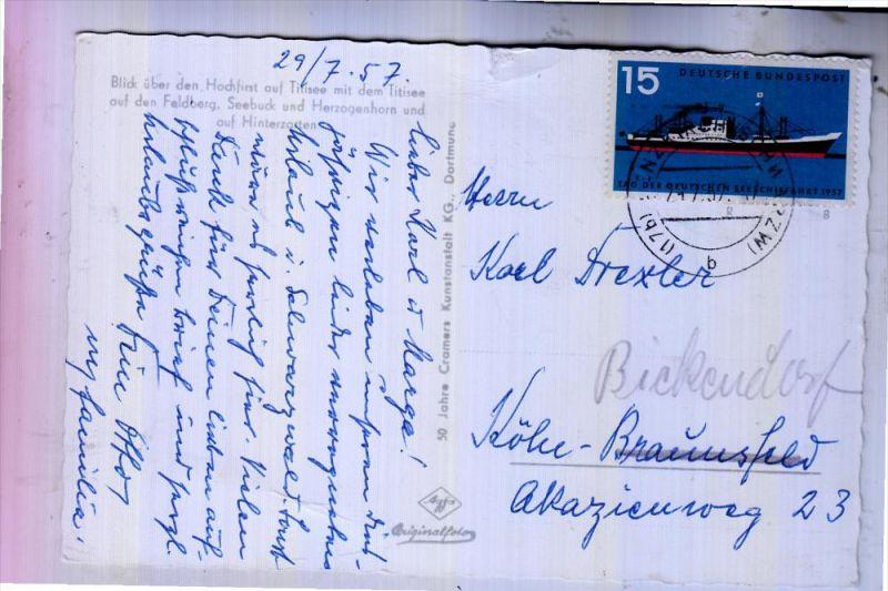 BUND - 1957, Michel 257, Tag der deutschen Seeschiffart, AK Einzelfrankatur