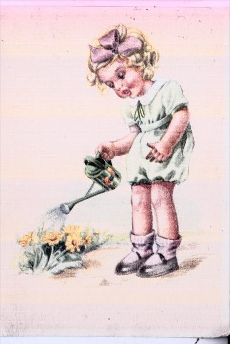 KINDER / Children / Enfants / Bambini / Ninos / Kinderen - Künstler-Karte, Mädchen mit Gießkanne