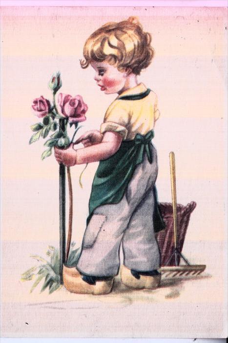 KINDER / Children / Enfants / Bambini / Ninos / Kinderen - Künstler-Karte, Junge mit Rosen