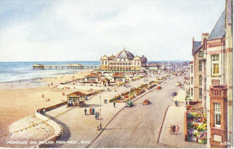 UK - WALES - DENBIGSHIRE - RHYL, Promenade and Pavilion from West, Artist BFC Parr