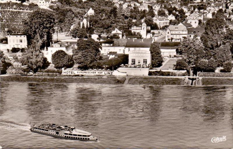 5460 LINZ, Hotel Europäischer Hof, Luftaufnahme, 1959