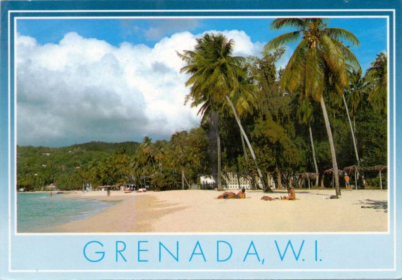 GRENADA - Beach, Bermuda stamp, ship post MS VISTAFJORD