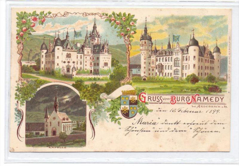 5470 ANDERNACH - NAMEDY, Lithographie Burg Namedy, 1899