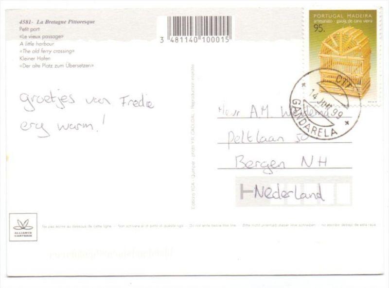 PORTUGAL MADEIRA - Michel 180 A, AK-Einzelfrankatur in die Niederlande