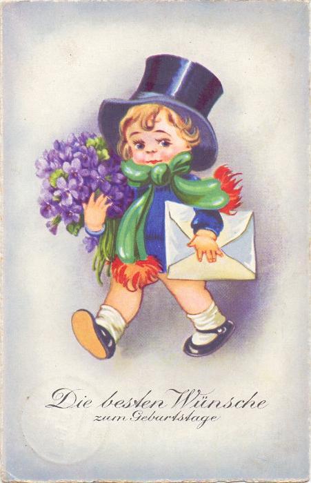 KINDER / Children / Enfants / Bambini / Ninos / Kinderen - Künstler-Karte, Mädchen mit Zylinder & Blumenstrauss, 1932