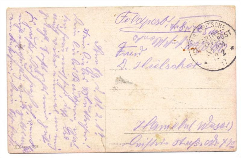 DEUTSCHES REICH - Militär Schiffspost MSP 49, 1917