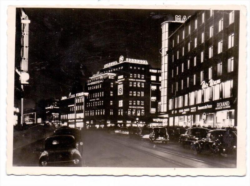 3000 HANNOVER, Bahnhofstrasse bei Nacht, Europa-Haus, 1958