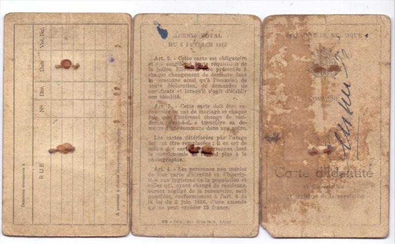 PERSONALAUSWEIS / PASSPORT / CARTE D´IDENTITE - Belgien, 1912