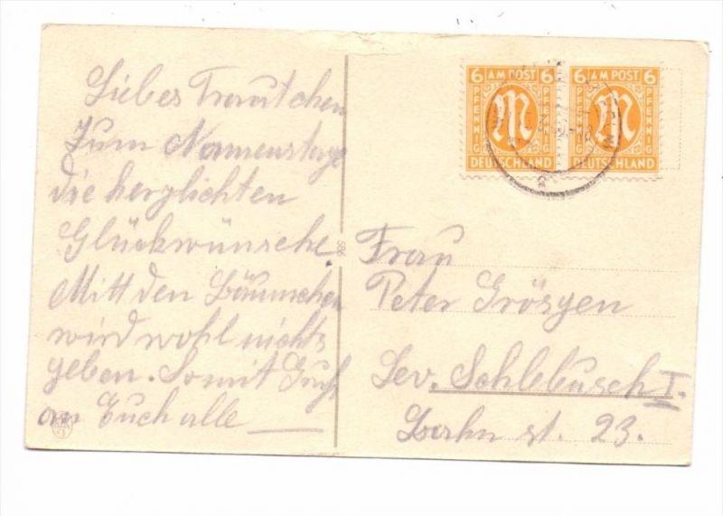 BIZONE,- Michel Nr. 4, Fernpostkarte Mehrfachfrankatur, 15.3.1946 von Wesseling nach Lev.-Schlebusch
