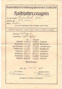 SCHULE - Zeugnis, Gewerbliche Fortbildungsschulen der Stadt Cöln / Köln, 1916