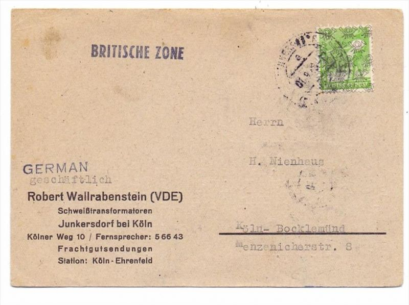 BIZONE - Michel 39 II, Netzaufdruck, Postkarte-Einzelfrankatur, 1.9.1948, von Köln-Junkersdorf nach Köln-Bocklemünd