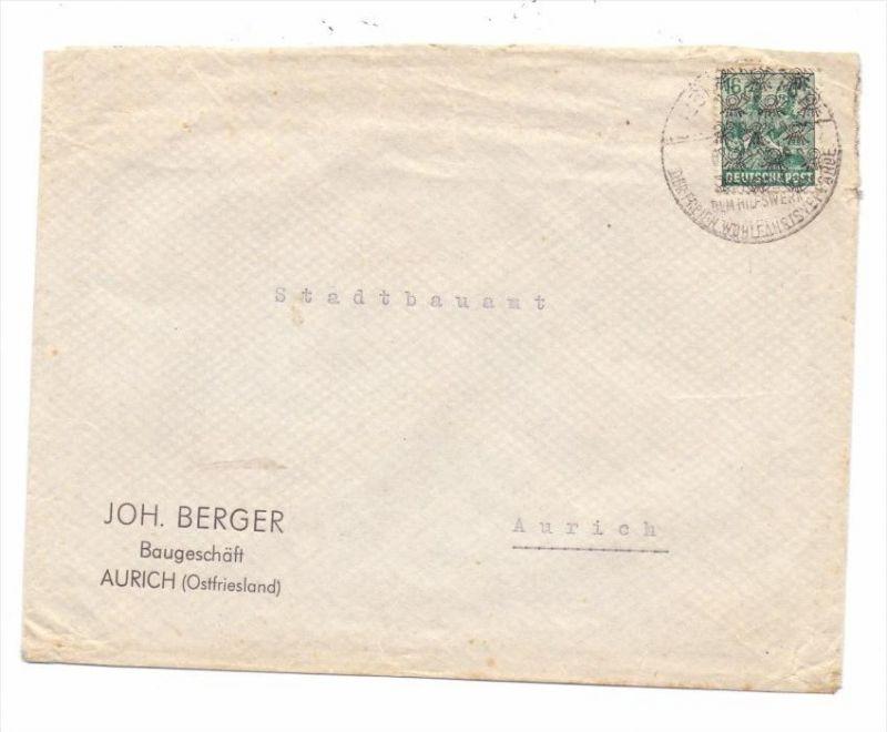 BIZONE - Michel 42 II, Netzaufdruck, Brief-Einzelfrankatur, innerhalb Aurichs befördert